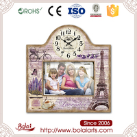 Vintage design french style eiffel tower mdf paper photo frame design with clock