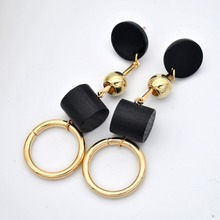2017 new model earrings long black wood gold color round circle vintage stud earrings for women