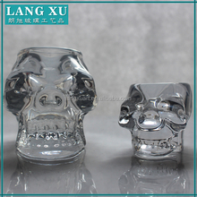 Different sizes skull shape transparent glass tealight candle holder