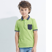 International custom printed collar contrast chest pocket kids polo shirts