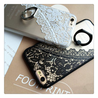 Lace Soft Cover case with Finger Ring Stand for iPhone 6/6s
