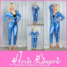 Factory Wholesale Hot Fashion Blue Open Crotch Sexy Leather Catsuit for Women