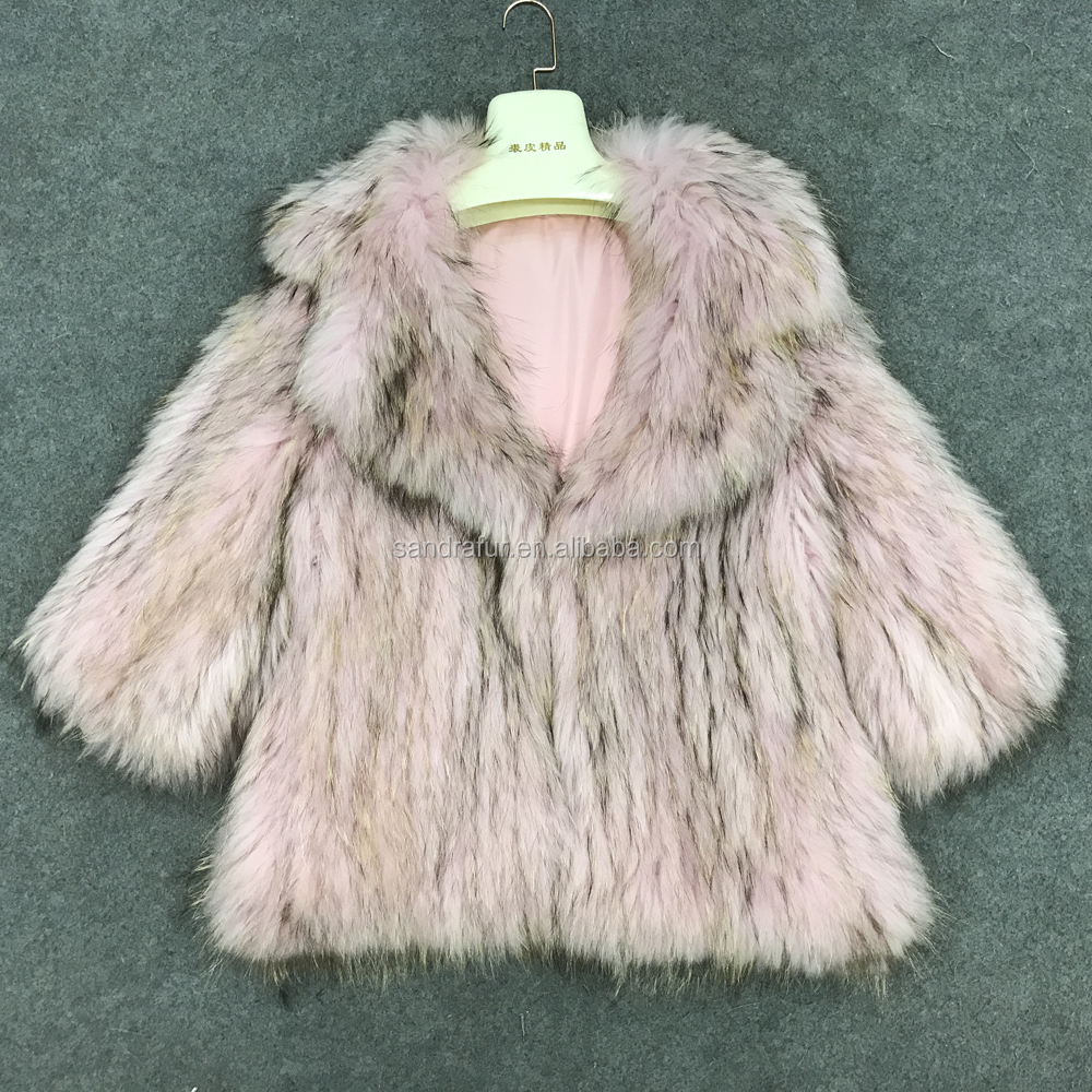 SJ032 2017 New Arrival Women Raccoon Fur Dyed Women Overcoat
