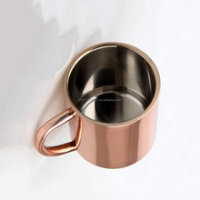 Food Grade Stainless Steel Electroplated Copper Mug , Double Wall Straight Body Copper Cup with Handle for Coffee
