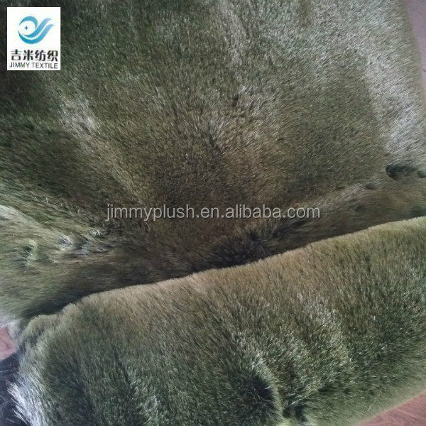 very smooth black tip-discharge apple green artificial fox fur faux fur fake fur fabric