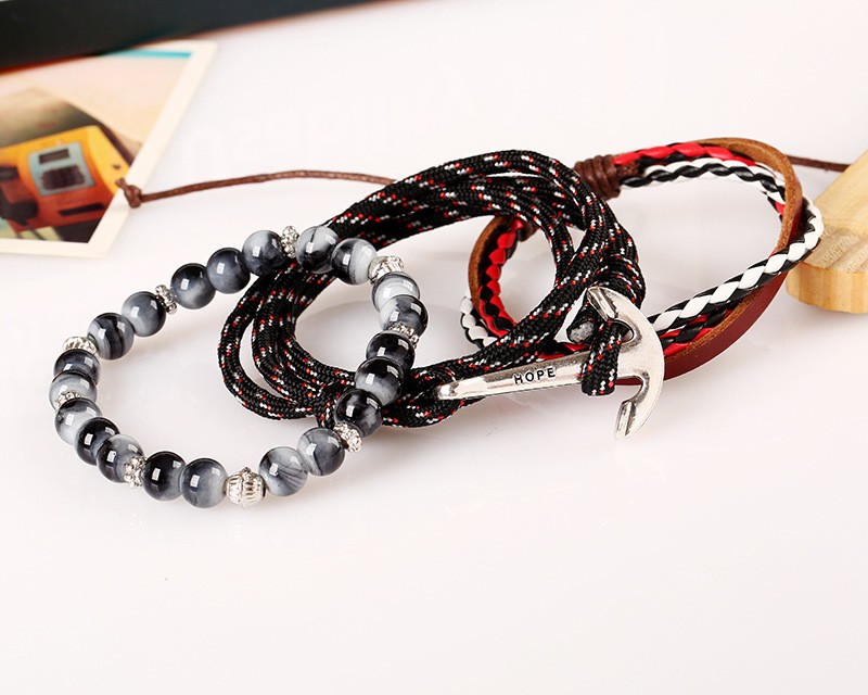 3 Pcs 1 Set Fashio Charm Jewelry Hand Strap Girl Gifts Love Access Leather Weave Hope Anchors Beads Custom Logo Bracelet for Men