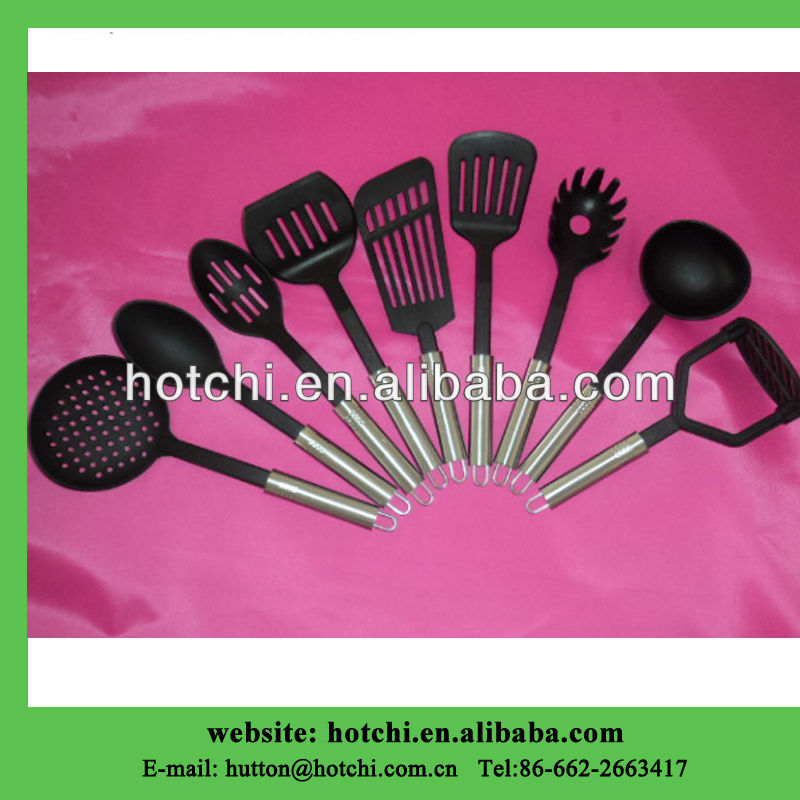 nylon household utensil set with S/S handle