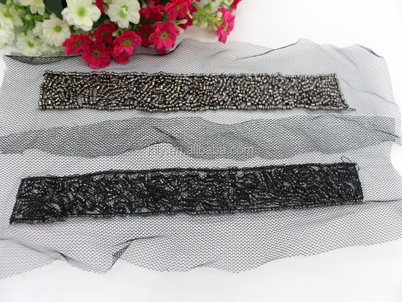 2016 Hot Sale Embroidery Beads Fabric Mesh Triming ribbon For DIY Dress