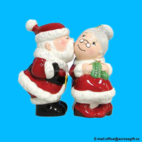 Ceramic Santa and Mrs. Clause Salt and Pepper Shaker Set
