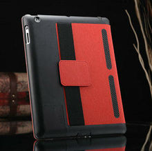 Luxury leather case for ipad 2 3 4 with armband and loud speaker , fashionable tablet case