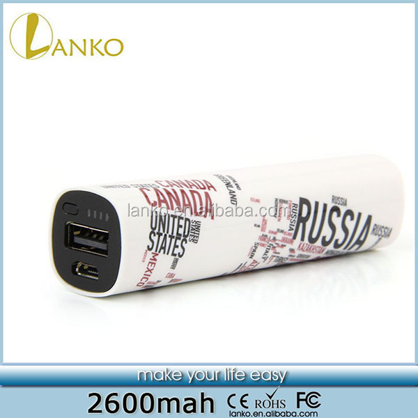 Lanko High Quality 2600Mah Mobile power bank made in china with USB Output for mobile phone