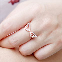 Korea Style Jewelry Lovely Micro Inlay Zircon Angel Wings Ring Women Fashion Open Ring