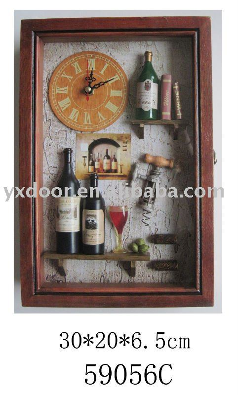 wine style wooden key shadow box with clock, nice gift for both wall and table.