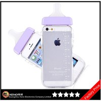 Keno PC + TPU Frame Bumper Case for iPhone 5, Baby Bottle Cute 3D Pregnant Woman Milk Bottle Clear Lanyard Case for iPhone 5/5S