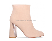 KX-0002 suede beige clear heel lady ankle boots