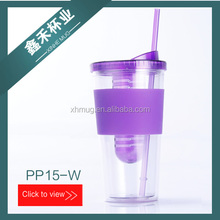 16OZ/20OZ/24OZ PLASTIC WATER BOTTLE FOR KIDS WITH STRAW DOUBLE WALL INFUSER TUMBLER WITH SILICON SLEEVE
