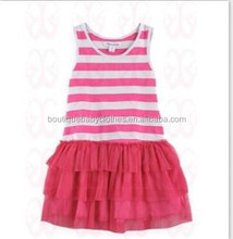 Beautiful Sleeveless pink Stripe Cotton And Chiffon Baby Dresses Boutique 1-8Years Old Baby Girl Party Wear Dress IM-CSJ026