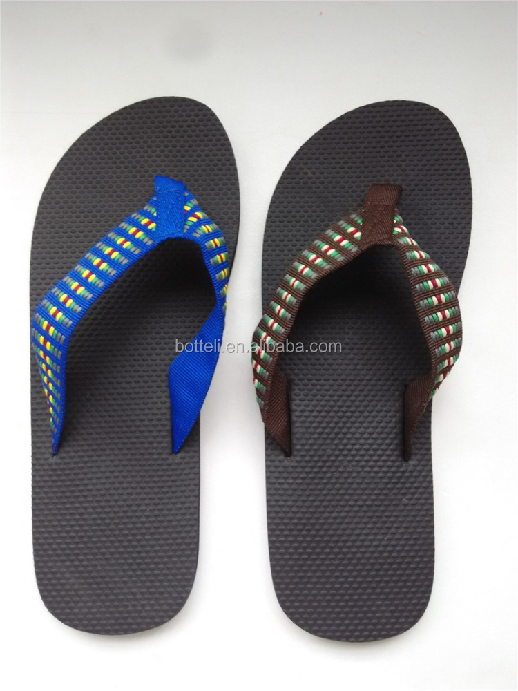 wholesale black beach slipper cheap flip flop for men rubber outsole material