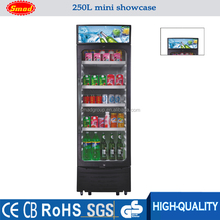 250L Glass Showcase For Sale Commercial Beverage Cooler 1-door Refrigerated Showcase Display Fridge
