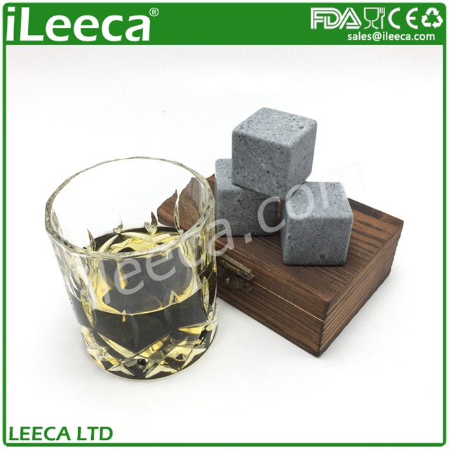 Bar Accessories Type And Eco-Friendly Feature Whisky Stone,Wine Chiller Whiskey Stones Set In Pine Wood Gift Case
