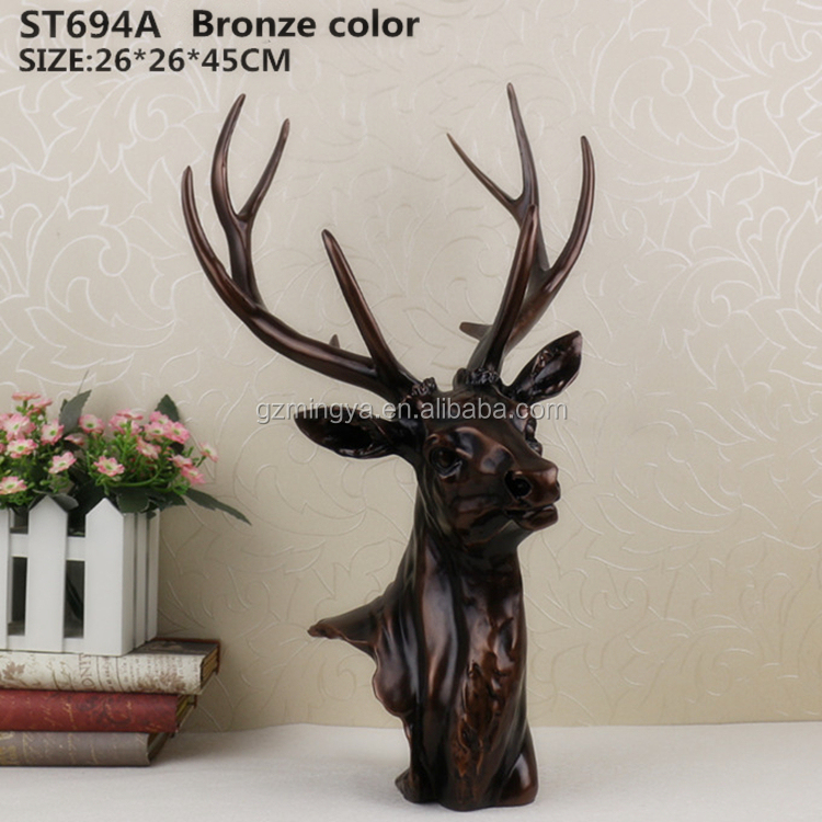 Resin animal head statue home wall decoration resin decorative statue deer head