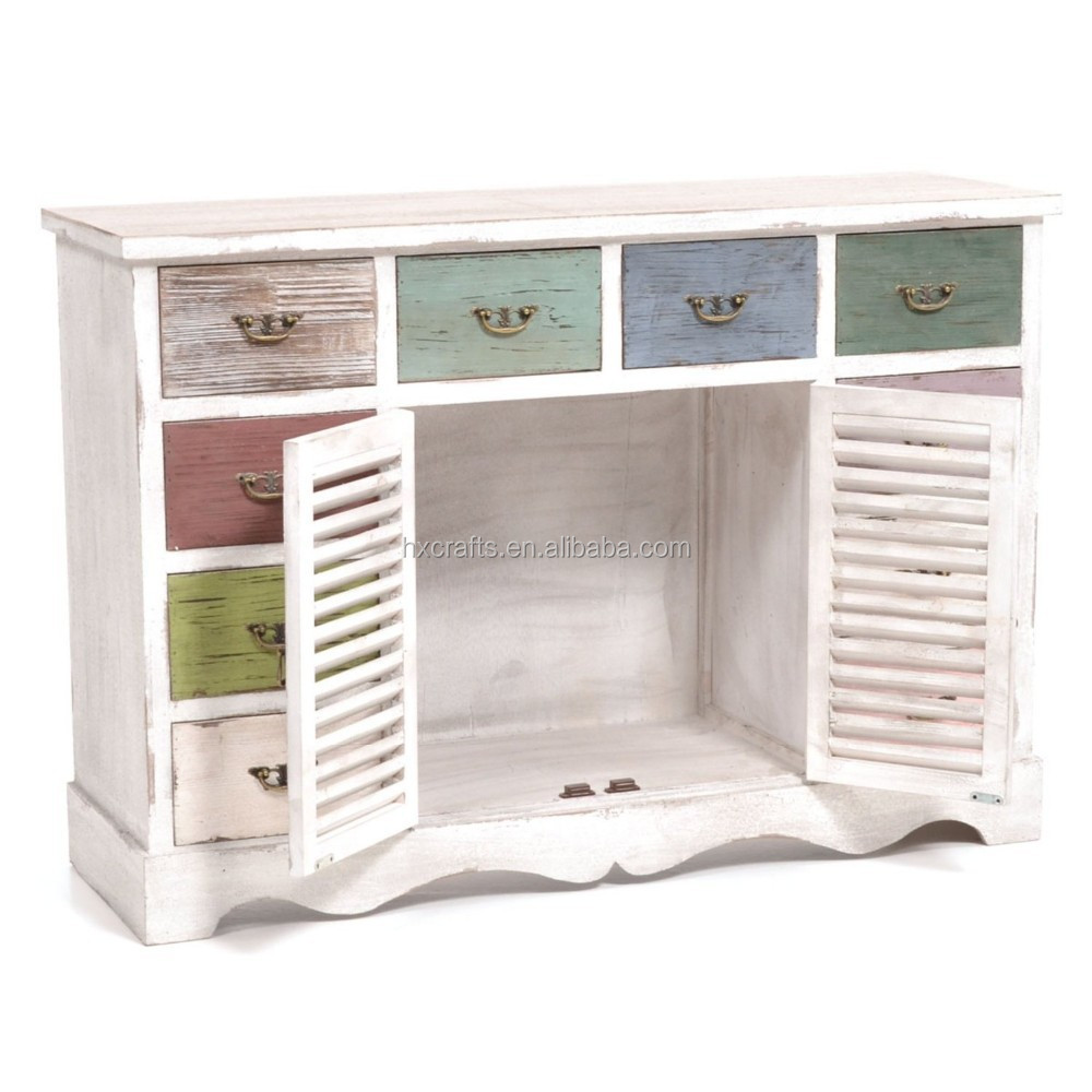 Hout kommode in shabby chic met 10 laden shabby chic kast for Shabby chic laden