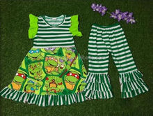 new baby kids Summer clothing set toddler girls boutique clothes cute green tortoise stripe capris outfits set