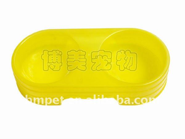 Yellow Dog Cat Plastic Pet Bowls Food Water Feeder Dish