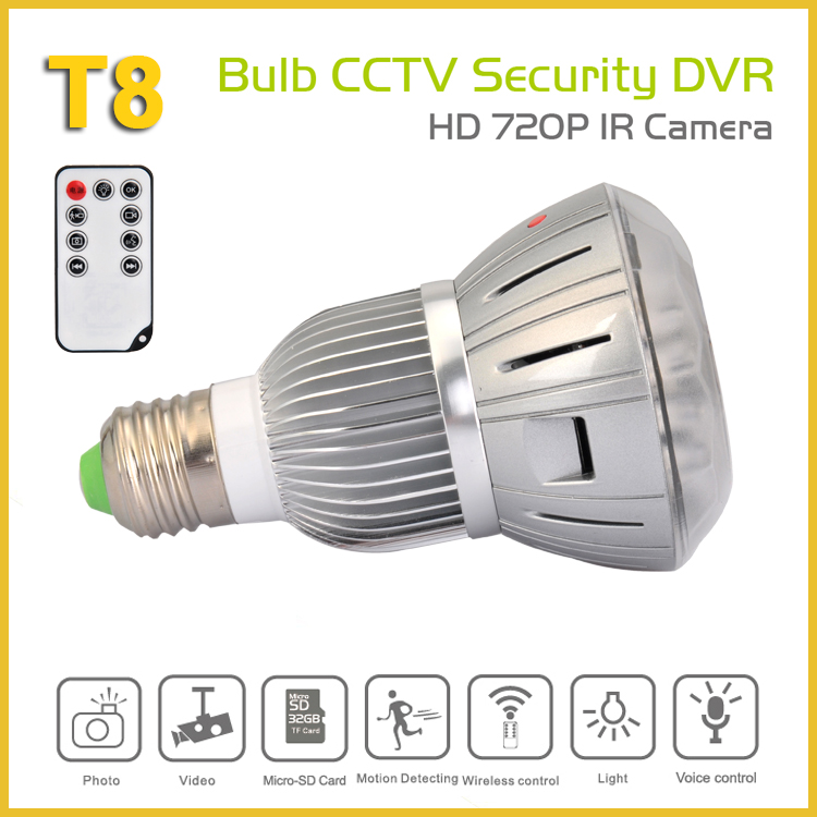 Bulb CCTV Security DVR Camera with remote control/camera light bulb/bulb shape camera