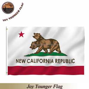 Old and new 100% polyester fabric California state flag