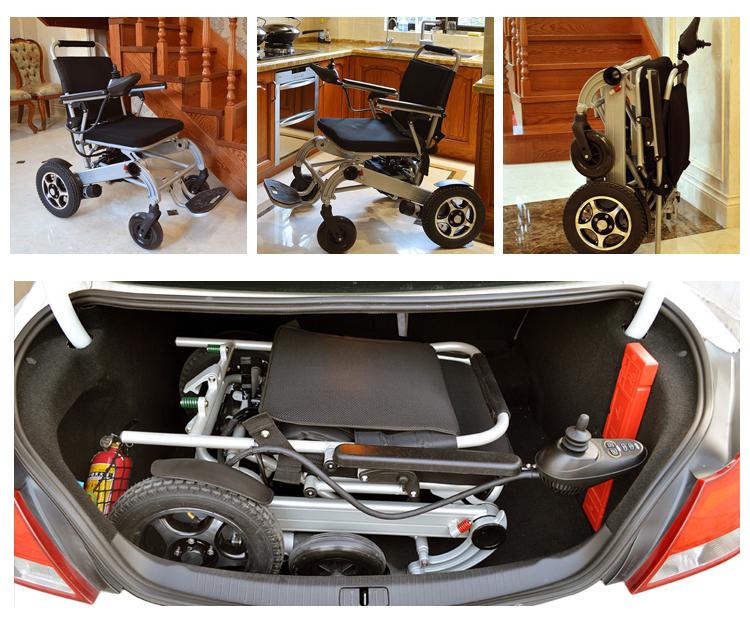 Viagem Dobrável Idosos joystick Cinza Prata Cuidados Médicos cadeira de rodas motorizada