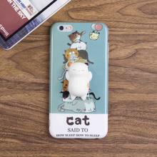 3D slow rising cat squishy case soft TPU squishy phone case for iPhone 6 / 7