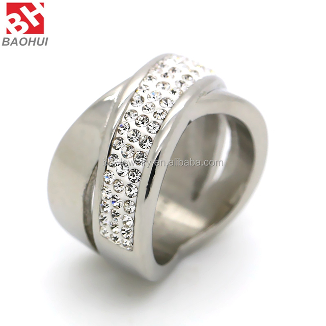 Factory Supply 2015 Fashion Jewelry Wedding Ring Stainless Steel Diamond Ring BHR0023