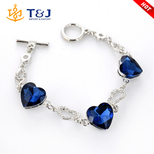 >>>>Hot sale jewelry 2016 silver crystal fashion bracelets big blue heart stone charm braclet for party&gift