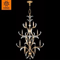 Large hotel 16 lights Metal Crystal Warm muted gold leaf chandelier pendant for stairs