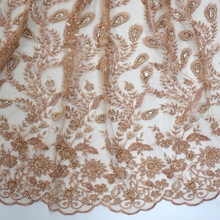 Top end french 3d crystal beaded <strong>lace</strong> fabric with pearls handmade <strong>embroidery</strong> sequined tulle <strong>lace</strong> for show in dubai HY0806-3