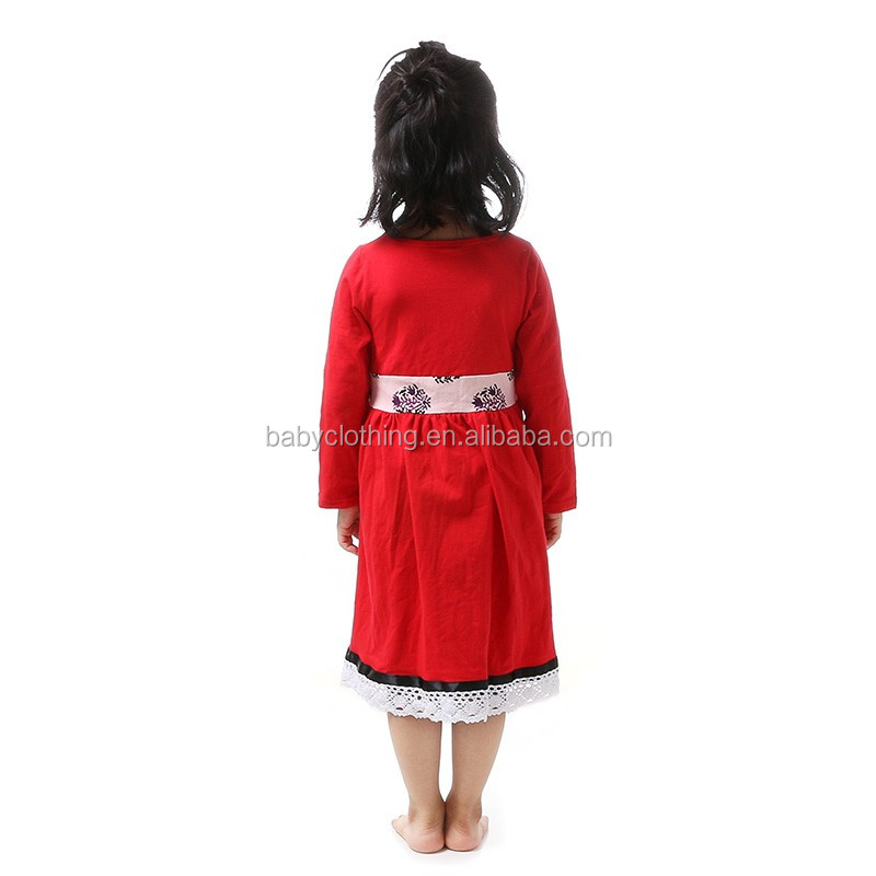 wholesale toddler girls boutique dress red cotton long sleeve dress