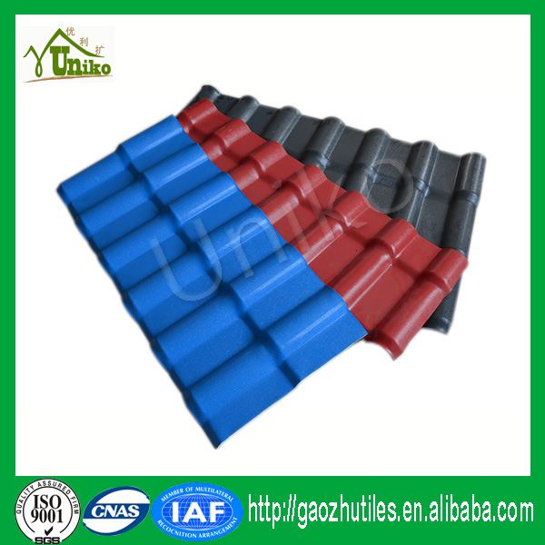 Light weight strong fire resistance synthetic resin roofing tiles