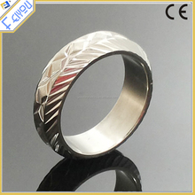 Hot sale custom Stainless steel gold plated Etching carving Pattern ring for men