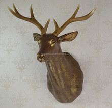 Animals Design Wall Moose Head Decor For Hotel Bar With Gold White Black