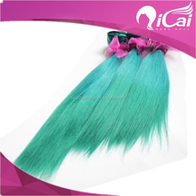New Ombre 2 Tone Emerald/Green Hair Weave Peruvian Virgin Remy Human Hair Extension Bundles Silk Straight Green Hair Weave