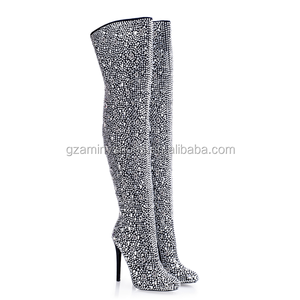 2016 rhinestones high heel Thigh high sexy lady thigh boot