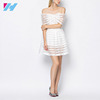 Off-Shoulder See-Through Stripes A-Line Pleated Summer Dress New Design For Women