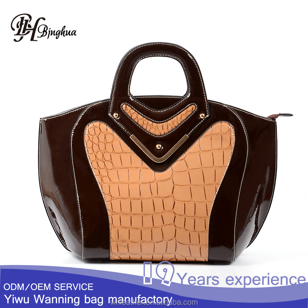 B-2828 shop online directly sell patent leather tote bag with carry handle party style handbag