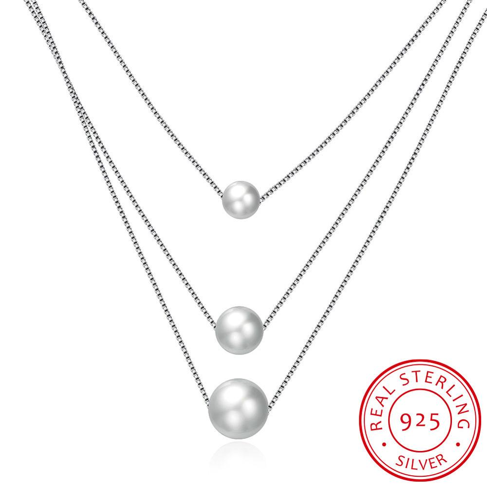Tryme <strong>Jewelry</strong> Fashion 3 Layer Necklace Silver 925 Shell Pearl Pendant Necklace Women <strong>Jewelry</strong> For Party Wedding Anniversary N103