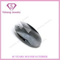 2016 Hot sale colored oval faceted machine cut grey glass stone