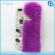 Luxury 3D Handmade Rex Rabbit Fur Hair Plush Crystal Bling Diamond Fox Case For Iphone 7 7 Plus