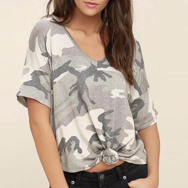 Fashion T Shirt Women Camouflage T-shirt V-neck Top Loose Plus Size T Shirt