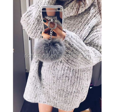 Rabbit Fur Ball Tassel Mirror TPU Case Cover For Iphone 5 6 6 Plus For Samsung Galaxy Note 5 Note 7 S7 S6 Edge Plus