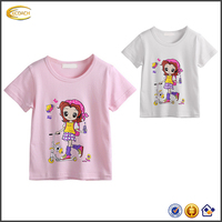 Pretty girls custom design cute Cartoon character print Short Sleeve t shirt 2016 summer crew neck white t shirt for children